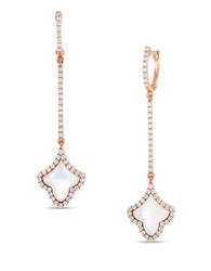 Roberto Coin Art Deco Diamond Mother Of Pearl And 18K Rose Gold Drop Earrings