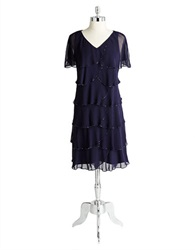 Patra Beaded And Tiered Flutter Sleeve Dress Lapis