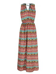 Mela Loves London Keyhole Printed Maxi Dress Multi Coloured