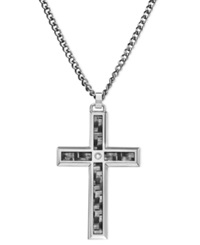 Macy's Men's Stainless Steel And Carbide Pendant Cross
