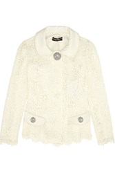 Dolce And Gabbana Patent Leather Trimmed Guipure Lace Jacket White