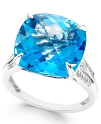 Macy's Blue Topaz 11 Ct. T.W. And Diamond 1 8 Ct. T.W. Ring In 14K White Gold