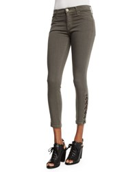 Hudson Nix Lace Up Cropped Jeans Brunswick Green