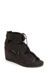 Eileen Fisher Women's 'Dibs' Lace Up Wedge Black Nubuck Leather
