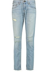 Rag And Bone Distressed Low Rise Boyfriend Jeans Blue