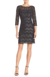 Women's Ellen Tracy Chevron Metallic Chiffon Sheath Dress