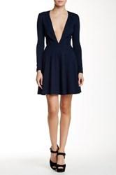 American Apparel Deep V Skater Dress Blue