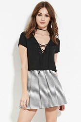 Forever 21 Pleated Stripe Skirt White Black