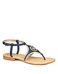Jack Rogers Maci Leather Thong Sandals Midnight Blue