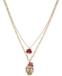 Betsey Johnson Gold Tone Crystal Skull And Rose Layered Pendant Necklace