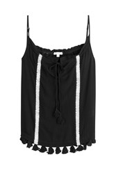Ella Moss Gauze Tank Top With Crochet Applique Black