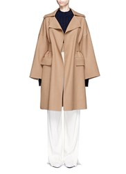 Ms Min Oversized Belted Wool Blend Coat Brown