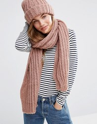 Pieces Knitted Scarf And Beanie Hat Burlwood Pink