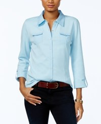 Tommy Hilfiger Utility Shirt Only At Macy's Porcelain Blue