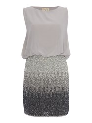 Lace And Beads Sleeveless Blouson Top Ombre Sequin Skirt Dress Grey