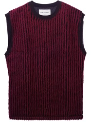 Striped Sleeveless Sweater Red