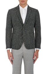 Brooklyn Tailors Men's Wool Donegal Tweed Three Button Sportcoat Dark Grey
