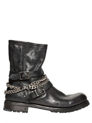 John Varvatos Chains And Buckles Leather Engineer Boots