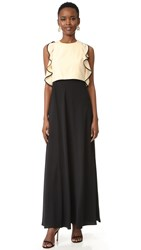 Jill Stuart Ruffled Trim Gown Bisque Black