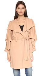 Kendall Kylie Lightweight Trench Coat Sepia