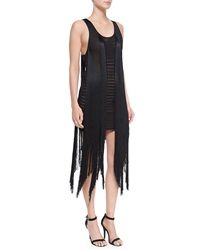 Roberto Cavalli Open Back Fringe Tank Dress