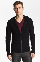 John Varvatos Collection Merino Wool Zip Hoodie Black