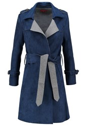 Derhy Campagne Faux Leather Jacket Marine Dark Blue
