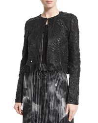Elie Tahari Gavin Embroidered Leather Jacket Black Women's