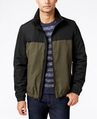 Nautica Two Tone Water Resistant Bomber Jacket Black Olive