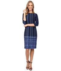Donna Morgan Boat Neck Raglan Scuba Dress Marine Navy Women's Dress