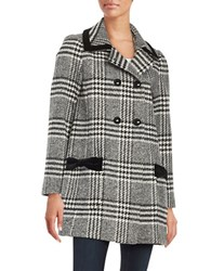 Cece Houndstooth Wool Blend Coat Black White