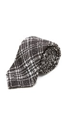 Alexander Olch The Scratch Plaid Printed Lace Tie Black White