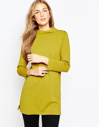 Asos Structured Knit Tunic With Button Up High Neck Chartreuse