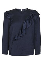 Topshop Satin Ruffle Blouse Navy Blue