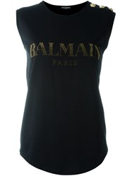Balmain Embellished Logo T Shirt Black