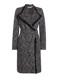 Marella Ghisa Check Textured Wool Coat Black