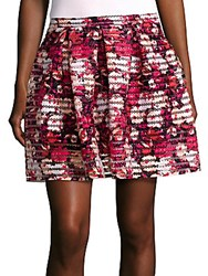 Saks Fifth Avenue Red Pleated Printed Skirt Black Coral
