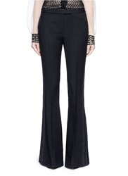 Alexander Mcqueen Satin Stripe Wool Silk Flare Pants Black