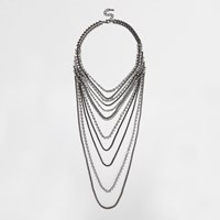 River Island Womens Silver Tone Draped Crystal Harness Necklace