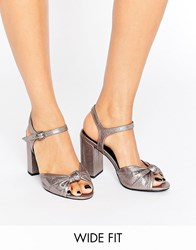 New Look Wide Fit Metallic Heeled Sandal Metal Silver