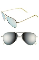 Women's Polaroid Eyewear 56Mm Polarized Aviator Sunglasses Gold Silver Mirror Polarized