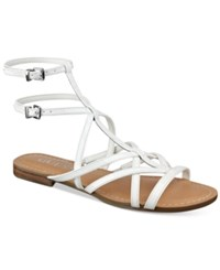 Guess Women's Mannie Strappy Flat Sandals Women's Shoes White