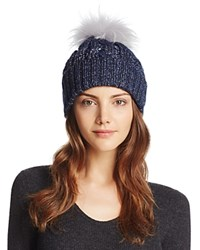 Aqua Metallic Cable Knit Beanie With Asiatic Raccoon Fur Pom Pom Navy