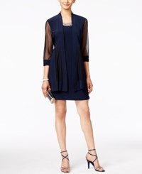 R And M Richards Embellished Dress Illusion Duster Jacket Navy