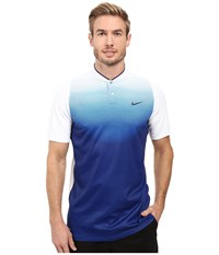 Nike Tiger Woods Vl Max Sphere Print Polo White Deep Royal Blue Reflect Black Men's Short Sleeve Pullover