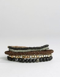 Icon Brand Mixed Beaded Bracelet Pack Brown