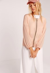 Missguided Satin Zip Through Bomber Jacket Nude Pink