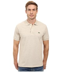 Lacoste Short Sleeve Original Heathered Pique Polo Oats Chine Men's Clothing Beige