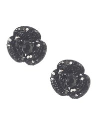 Betsey Johnson Black Flower Stud Earrings