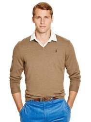 Ralph Lauren Polo Golf By Long Sleeve V Neck Merino Jumper Scout Taupe Heather